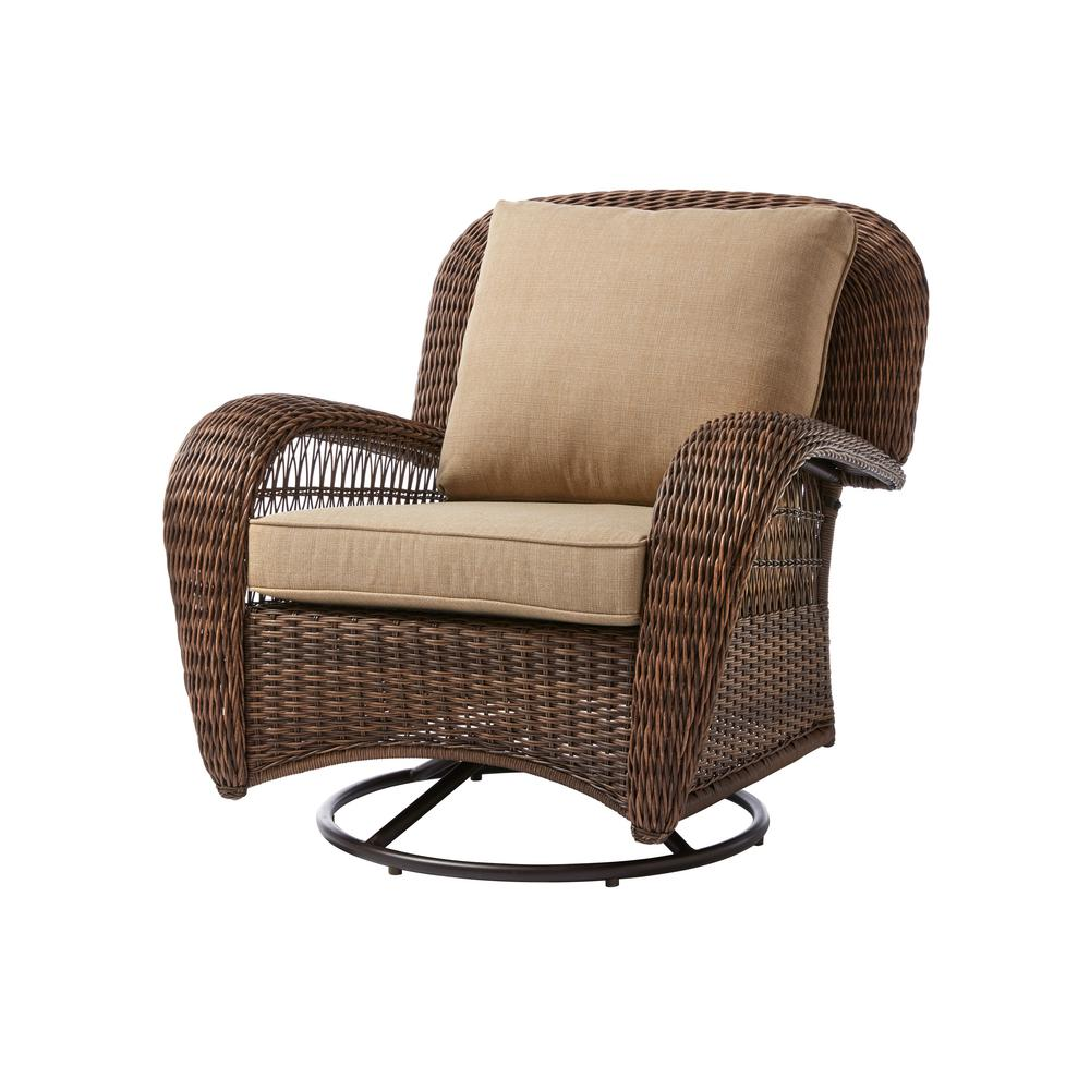 Swivel Rocking Chairs Hampton Bay Beacon Park Wicker Outdoor Swivel Lounge Chair With Toffee Cushions