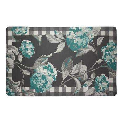 teal kitchen rugs cabinet slides geometric farmhouse mats the home depot hydrangea checkered floral 20 in x 32 memory foam mat