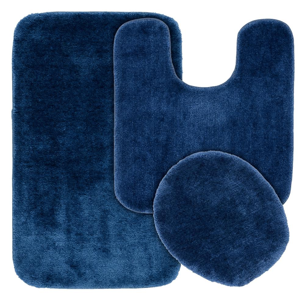 Garland Rug Traditional Navy 3 Piece Washable Bathroom Rug Set Ba010w3p02k2 The Home Depot