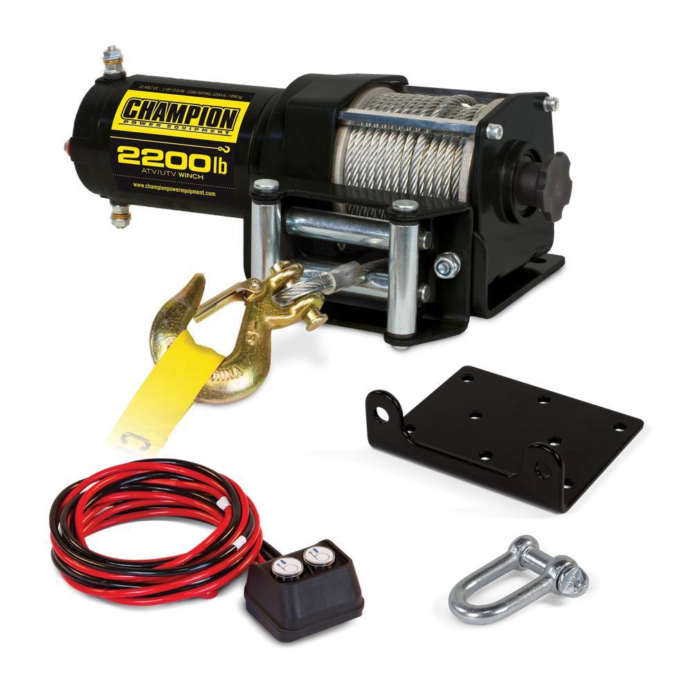 hight resolution of champion power equipment 2 200 lbs 12 volt atv utv winch kit