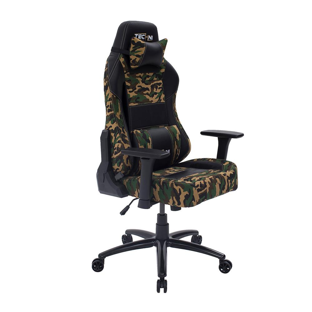 Video Chair Techni Sport Ergonomic Green High Back Racer Style Video Gaming