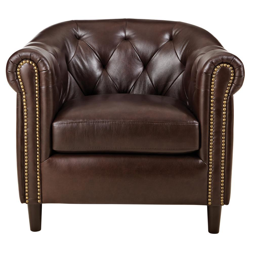 Home Decorators Collection Warin Chocolate Leather Club
