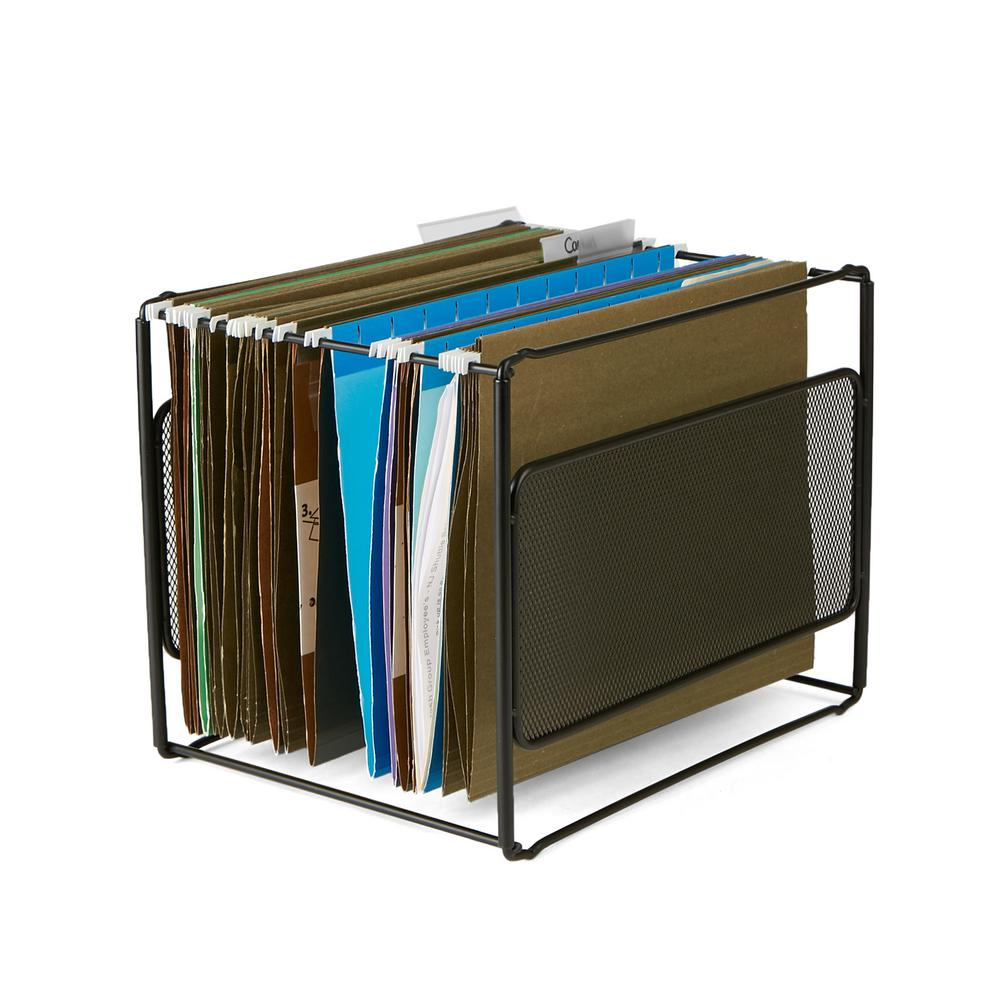 Mind Reader Metal Mesh Hanging Folder File Organizer in