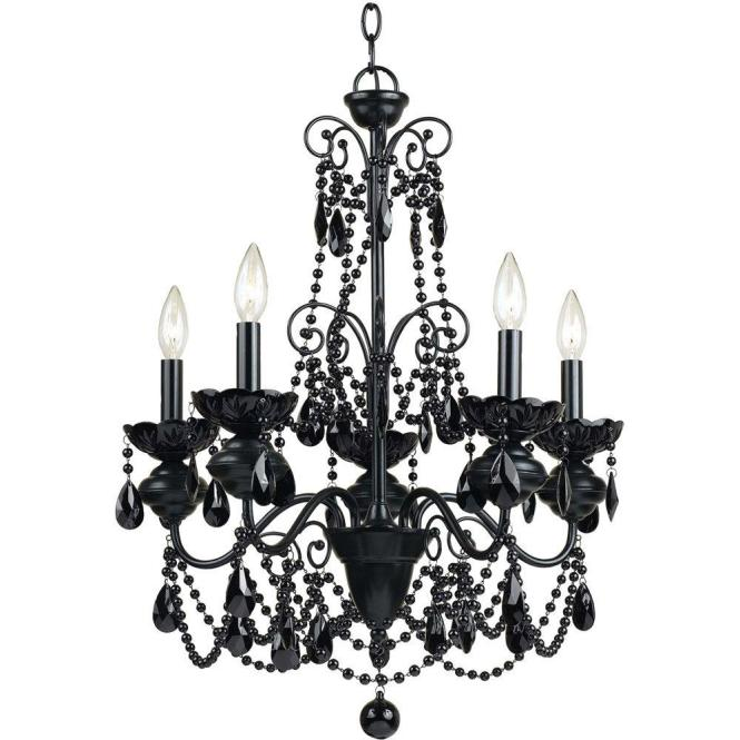 Af Lighting Mischief 5 Light Black Metal Chandelier With Glass Bead Accents 7506 5h The Home Depot