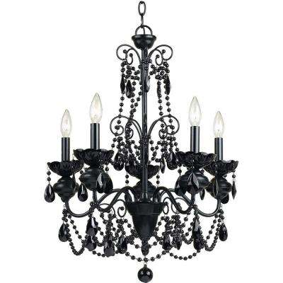 Mischief 5 Light Black Metal Chandelier