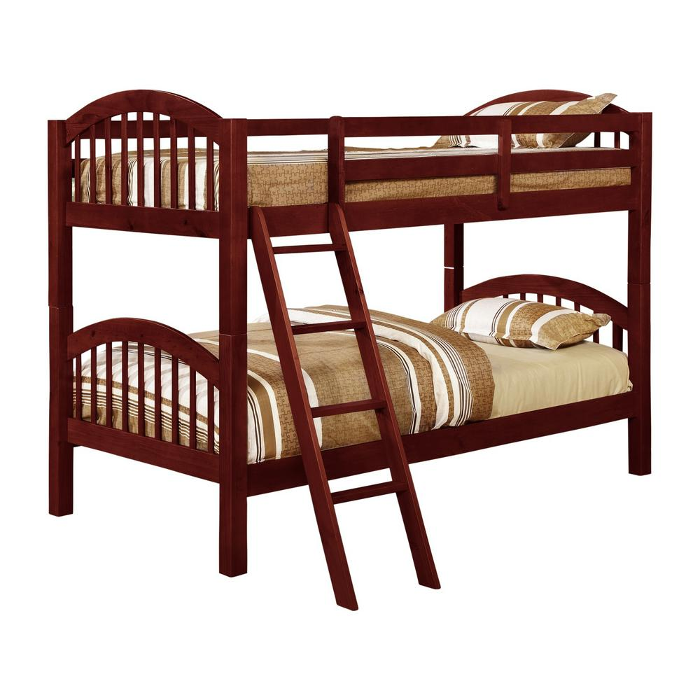 signature home beth cherry wood twin over twin country style convertible bunk bed c521b the home depot