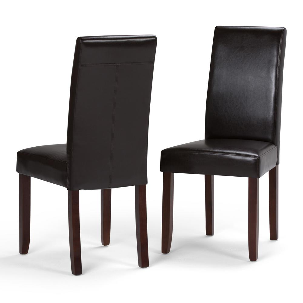 parson chairs design within reach womb chair simpli home acadian tanners brown faux leather parsons dining set of 2 ws5113 4 the depot