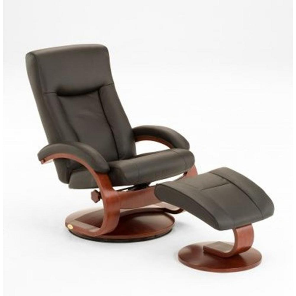 Mac Motion Chairs Mac Motion Oslo Collection Black Top Grain Leather Swivel Recliner With Ottoman