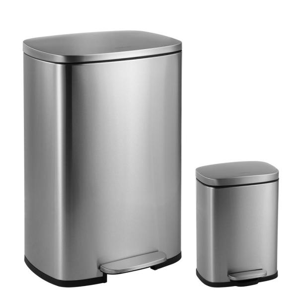 Happimess Connor Rectangular 13 Gal. Stainless Steel Trash With Soft-close Lid And Free Mini