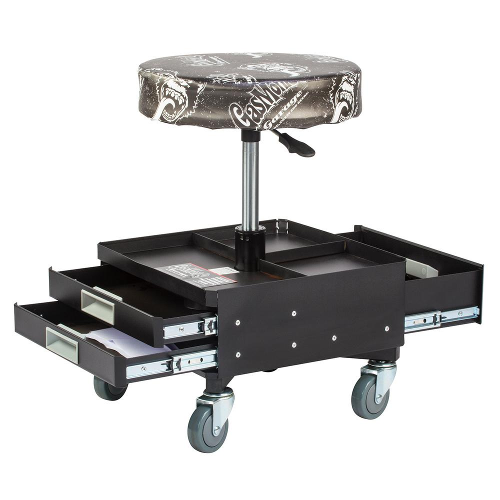 garage chairs rolling revolving chair of godrej gas monkey pneumatic seat with toolbox 3 drawers and tool tray 4 casters 300 lbs capacity