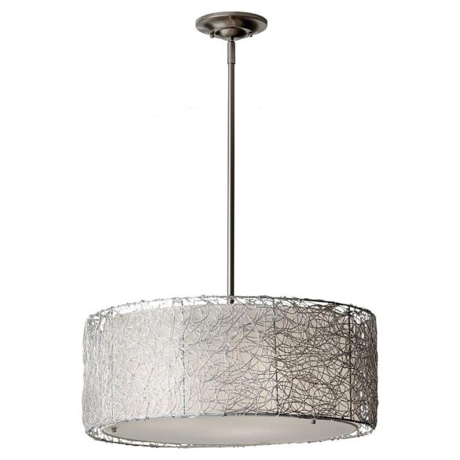 Feiss Wired 3 Light Brushed Steel Chandelier With Fabric Shade