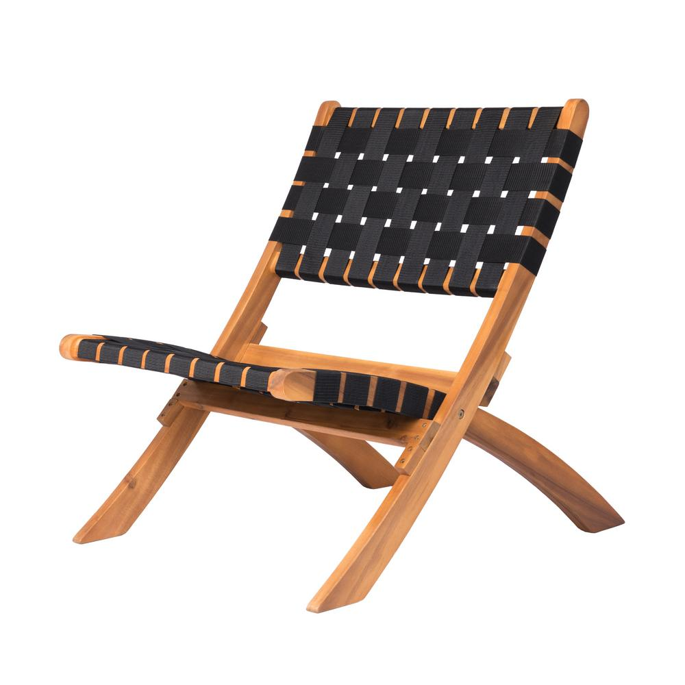 Woven Lawn Chair Patio Sense Sava Foldable Wood Outdoor Natural Black Web Lounge Chair