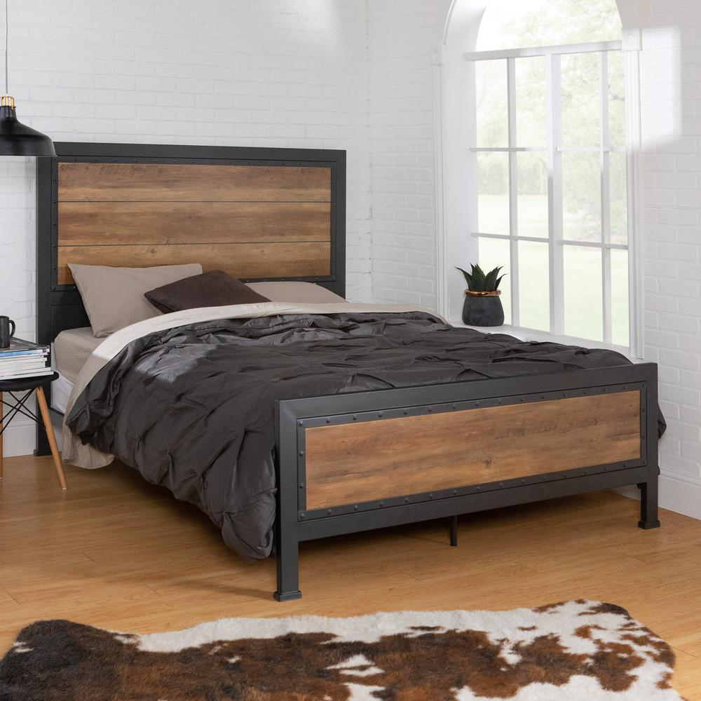 walker edison furniture company queen size rustic oak industrial wood and metal bed hdqawro the home depot