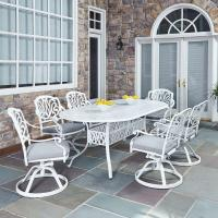 Home Styles Floral Blossom White 7-Piece All-Weather Patio ...