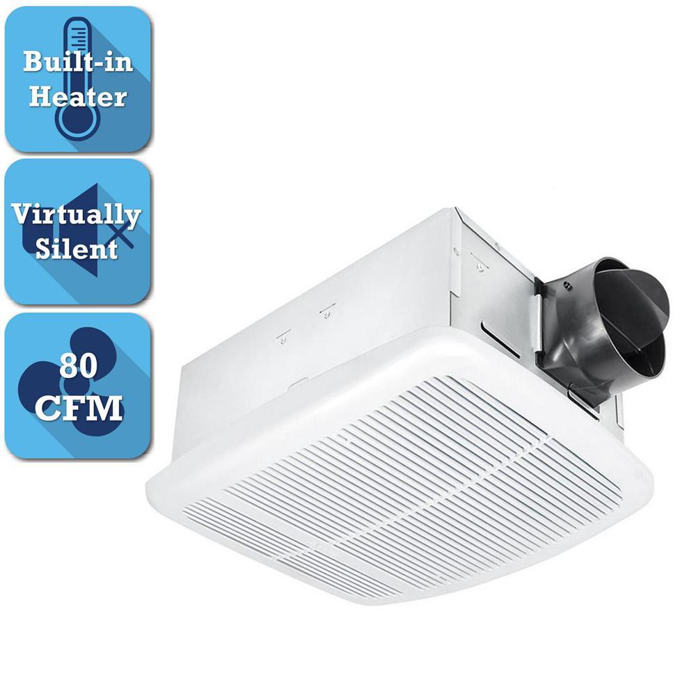 Bathroom Flush Mount Exhaust Fan Heater Thermostat 80CFM