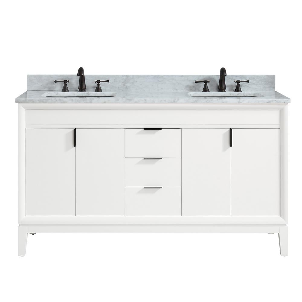 Avanity Emma 61 In W X 22 In D X 35 In H Bath Vanity In White With Marble Vanity Top In Carrara White With Basins Emma Vs61 Wt C The Home Depot
