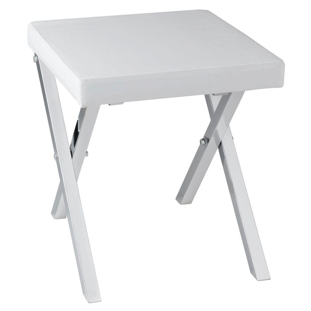 folding chair for bathroom best high small spaces vanity stool white cushion seat bedroom makeup sit steel