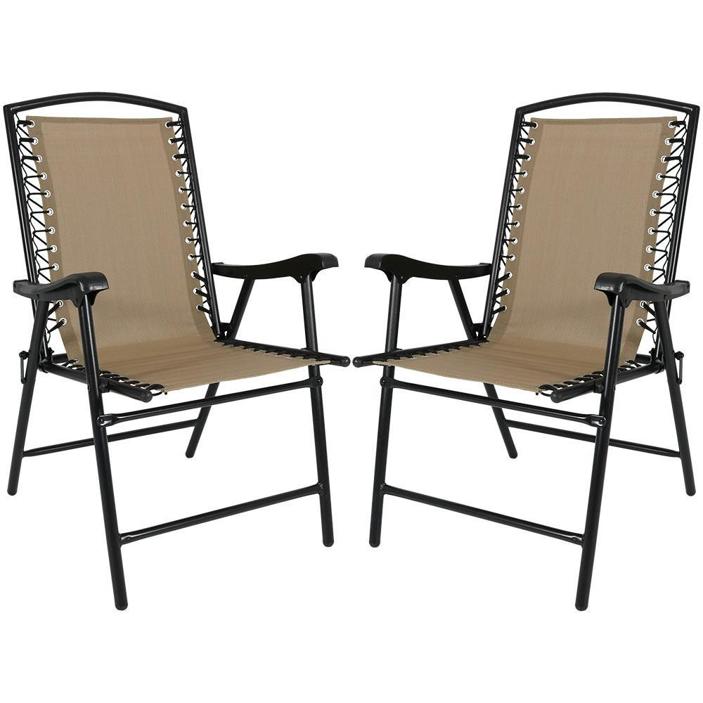 lawn chairs home depot replacement chair casters patio the khaki sling folding beach set of 2