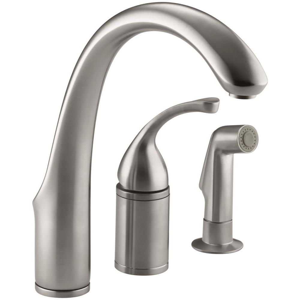 3 hole kitchen faucet lowes pantry kohler forte single handle standard with side sprayer in vibrant stainless