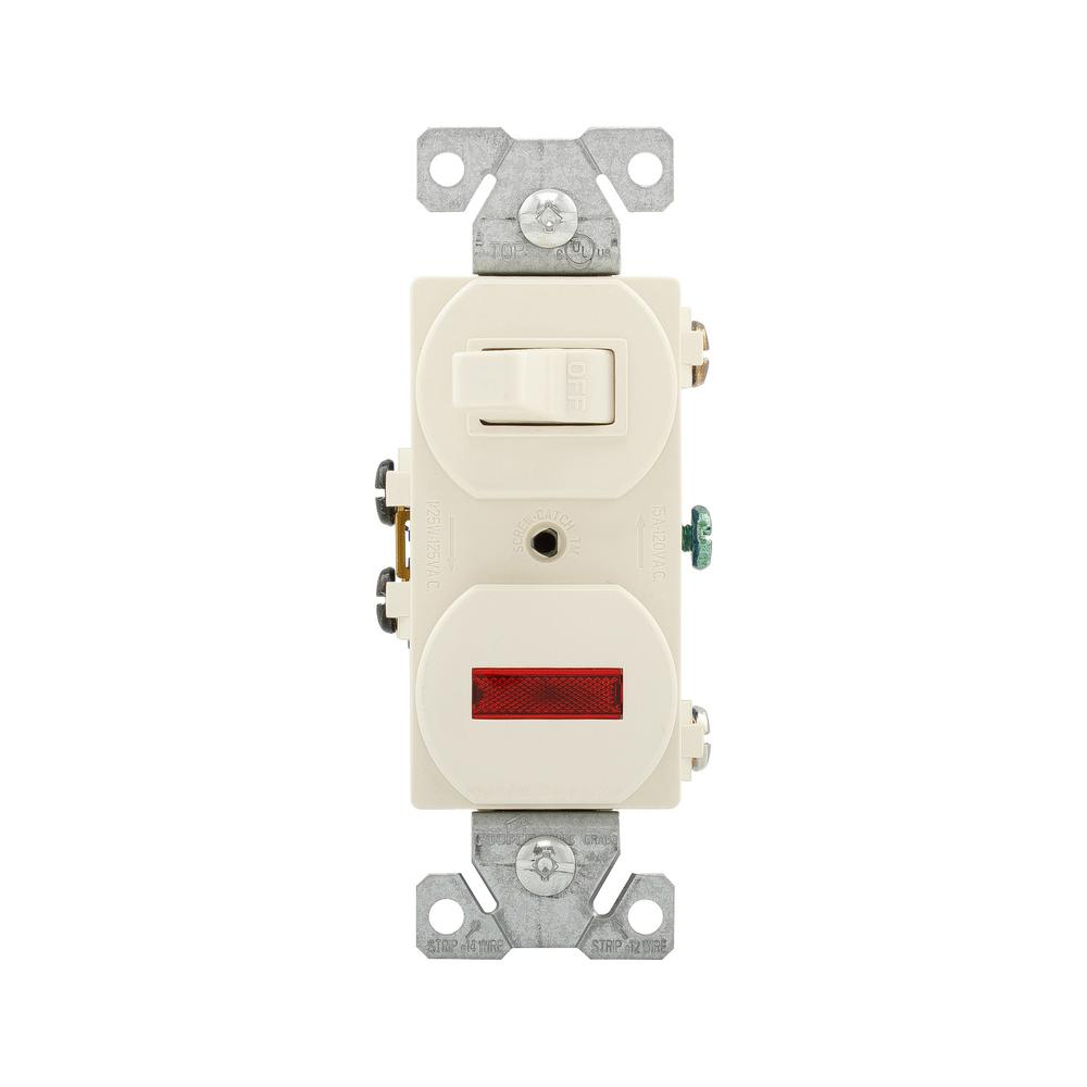 medium resolution of eaton 15 amp single pole combination toggle switch and pilot light light almond