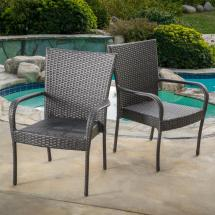 Noble House Gray Stackable Wicker Outdoor Dining Chair