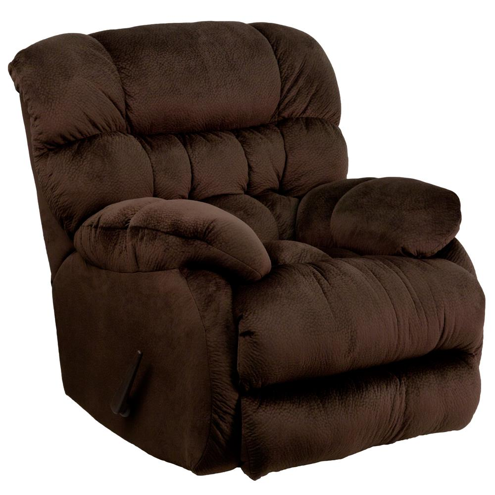rocker and recliner chair with cooler underneath flash furniture contemporary sharpei chocolate microfiber