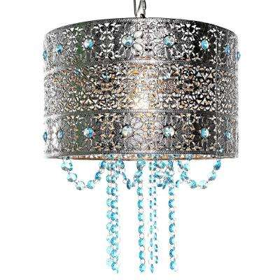 Poetic Wander By Tracy Porter 1 Light Silver And Blue Chandelier With Cascading Crystals