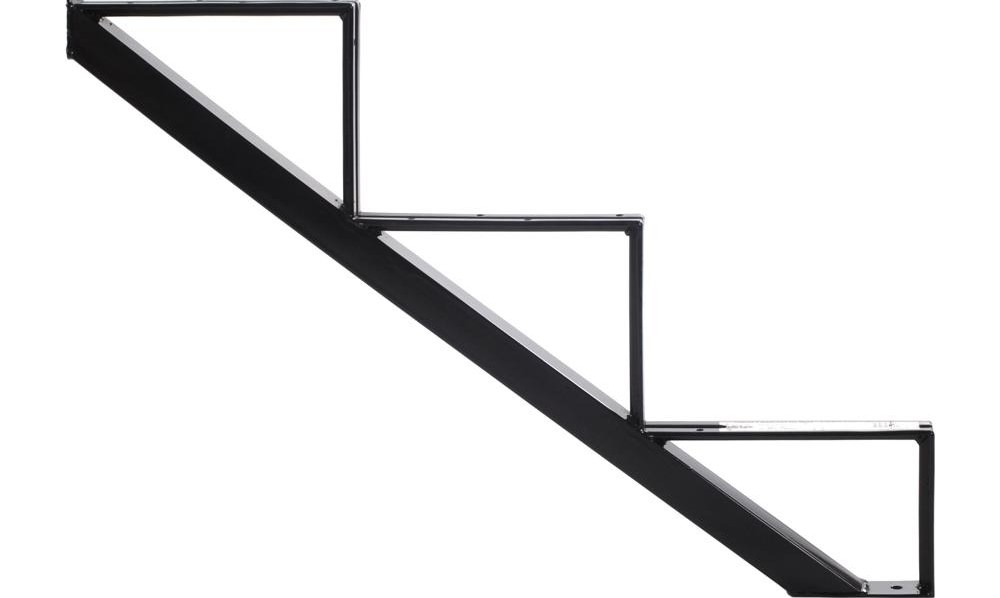 Pylex 3 Steps Steel Stair Stringer Black 7 1 2 In X 10 1 4 In | Steel Stair Stringer Design | Structural | Simple | Step | Free Standing | 3 4 Wood Stringer