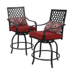 Jordan Manufacturing Outdoor Patio Wrought Iron Chair Cushion French Cafe Chairs Target Bar Stools Furniture The Home Depot Swivel Metal Balcony Height Stool With Red 2 Pack