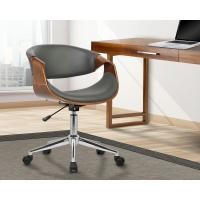 Armen Living Geneva 33 in. Gray Faux Leather and Chrome ...