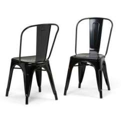 Industrial Dining Chair Wood Padded Folding Chairs Kitchen Room Furniture The Fletcher Black Metal Side Set Of 2
