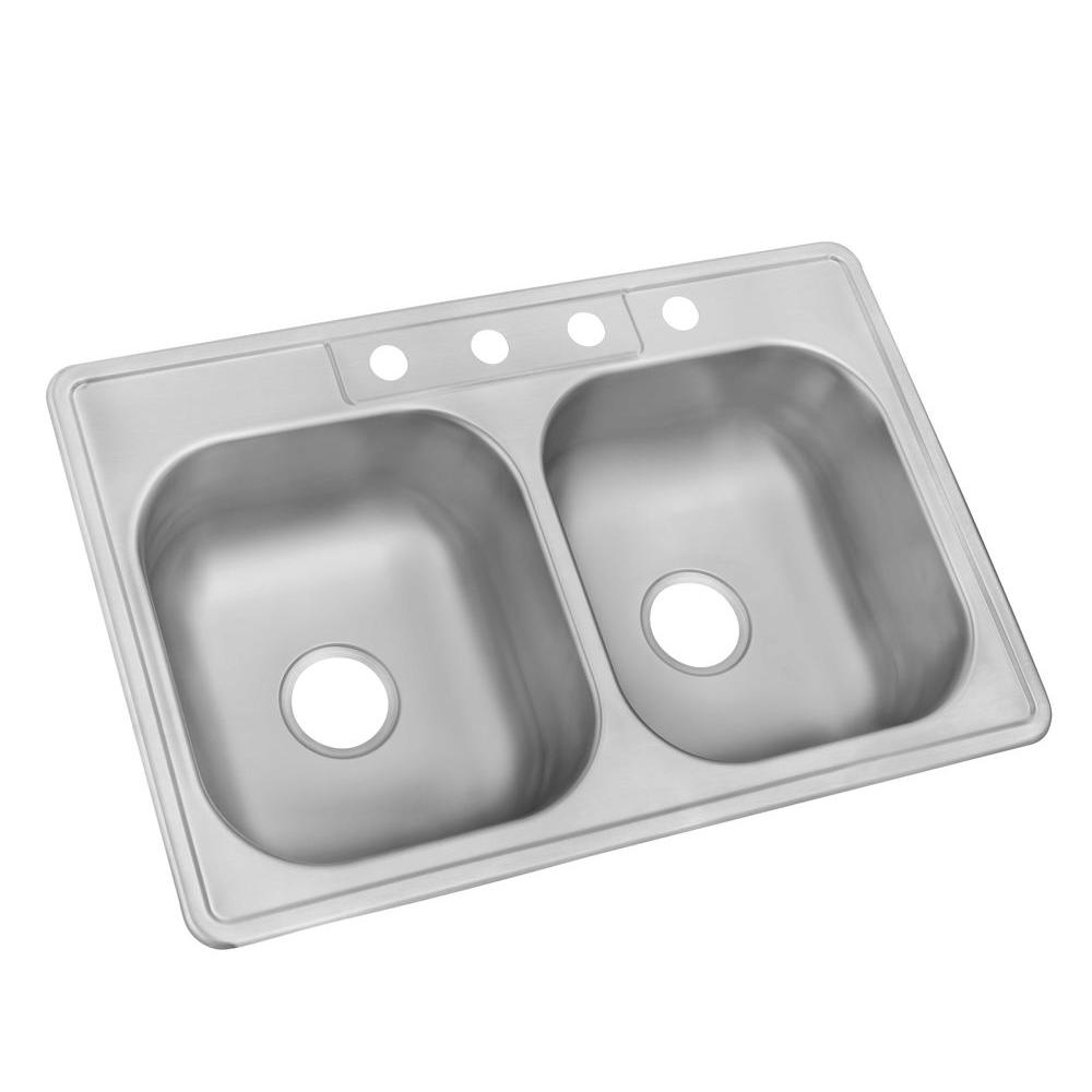 kitchen sink capacity tuscan island glacier bay drop in stainless steel 33 4 hole double bowl