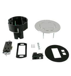 legrand wiremold dual service floor box kit with 15 amp receptacle and 1 rj45 cat 5e [ 1000 x 1000 Pixel ]