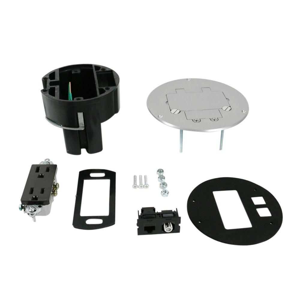 hight resolution of legrand wiremold dual service floor box kit with 15 amp receptacle and 1 rj45 cat 5e