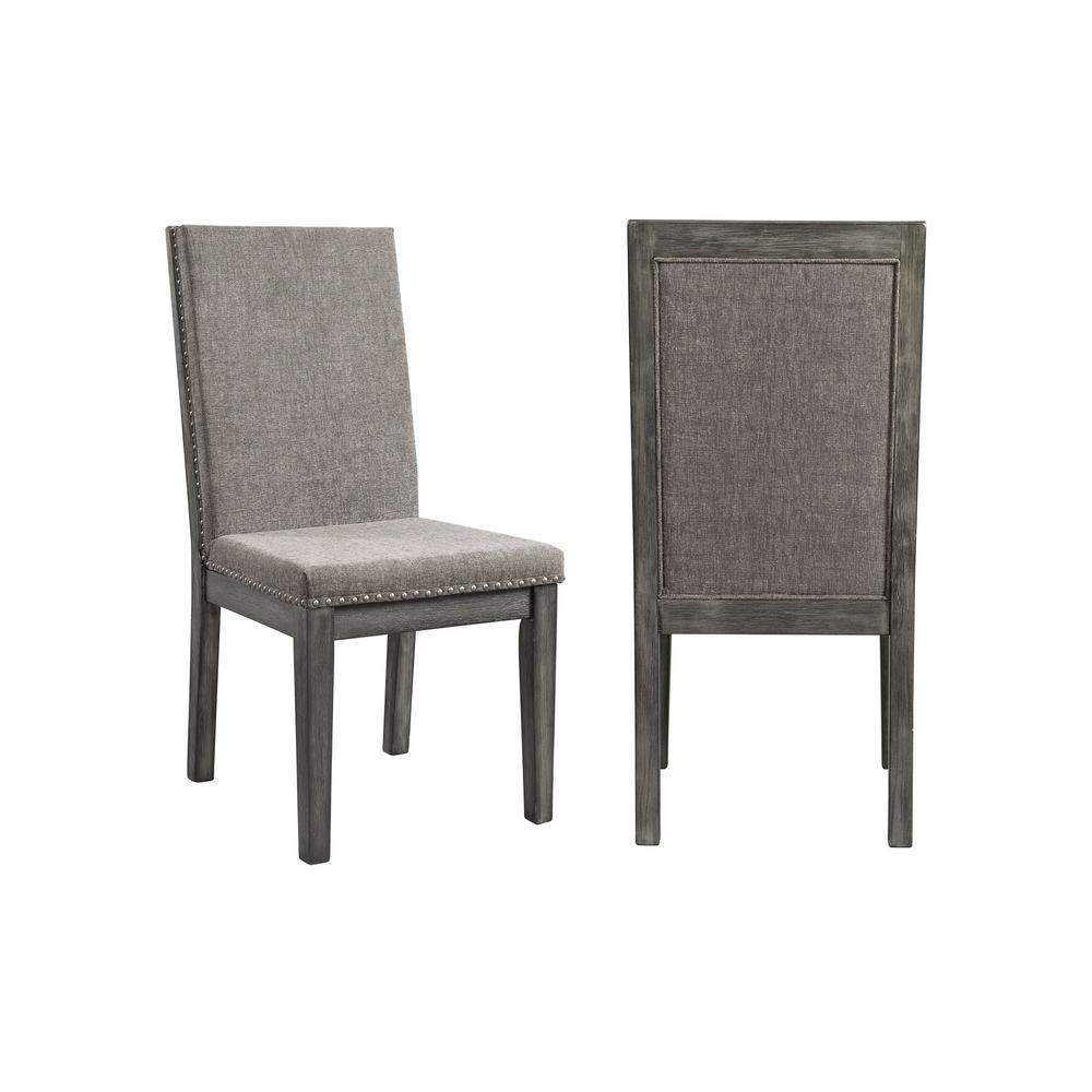 gray side chair with hole picket house furnishings austin grey upholstered dining set of 2