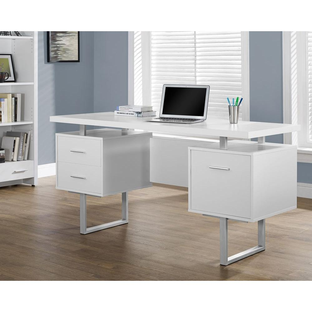 Monarch Specialties White Desk with DrawersI 7081  The