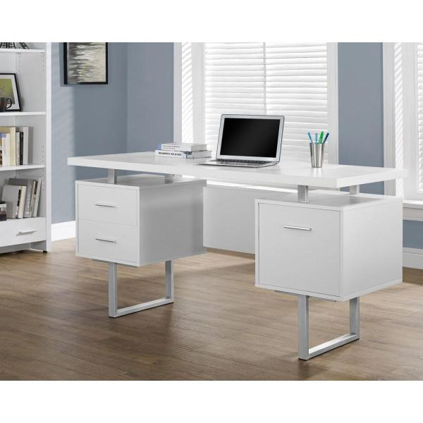 Monarch Specialties White Desk With Drawers- 7081