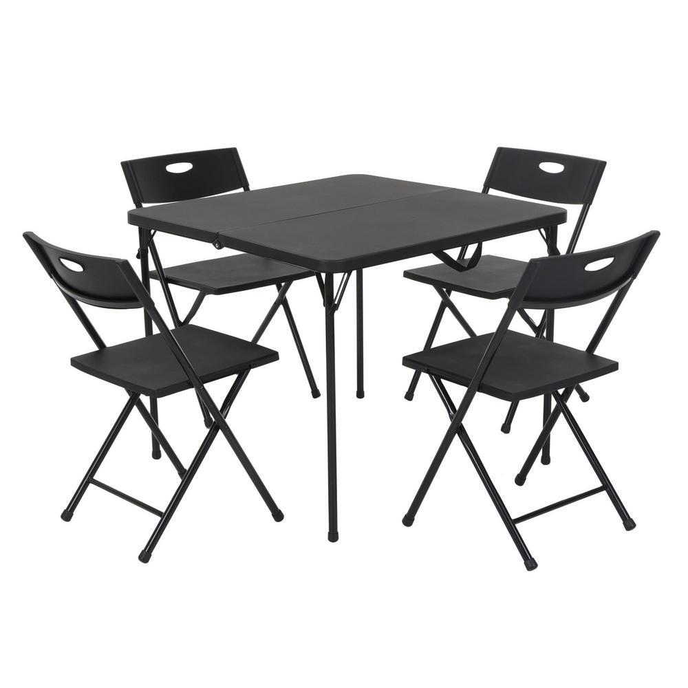 Cosco 5Piece Black FoldinHalf Folding Card Table Set