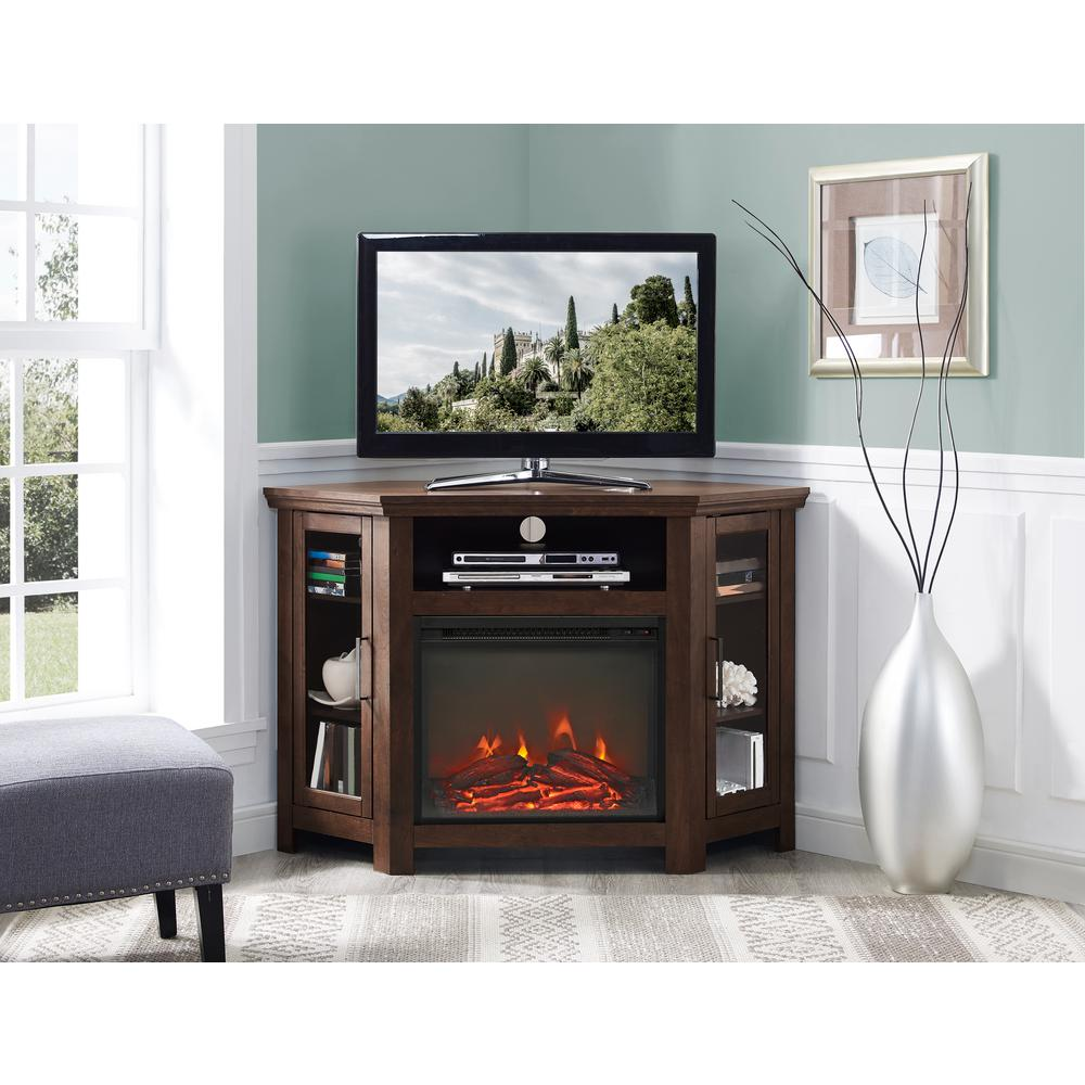 Walker Edison Furniture Company Traditional Brown Fireplace Corner Fireplace Entertainment