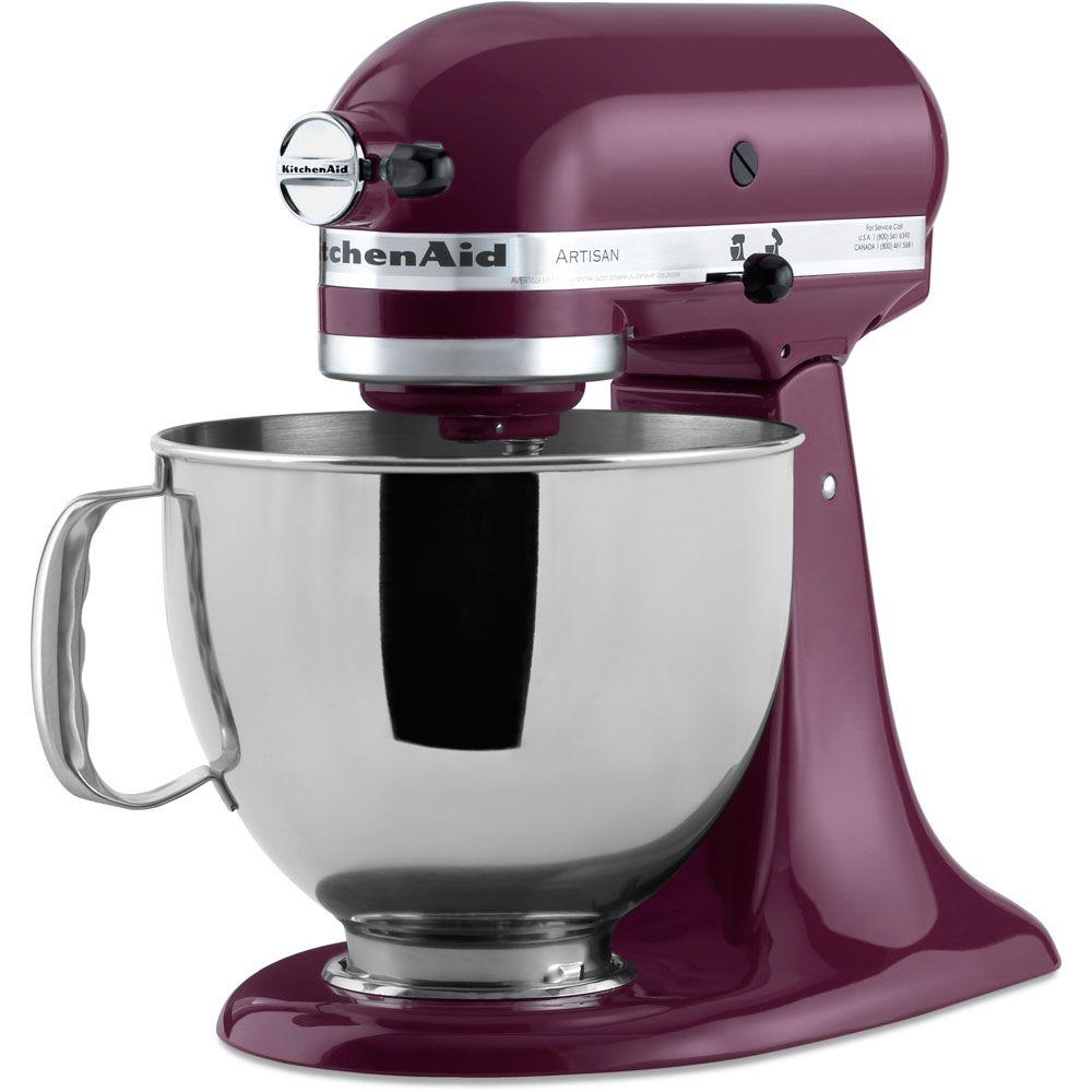 kitchen aid 5 qt mixer round table sets kitchenaid artisan boysenberry stand ksm150psby the home depot