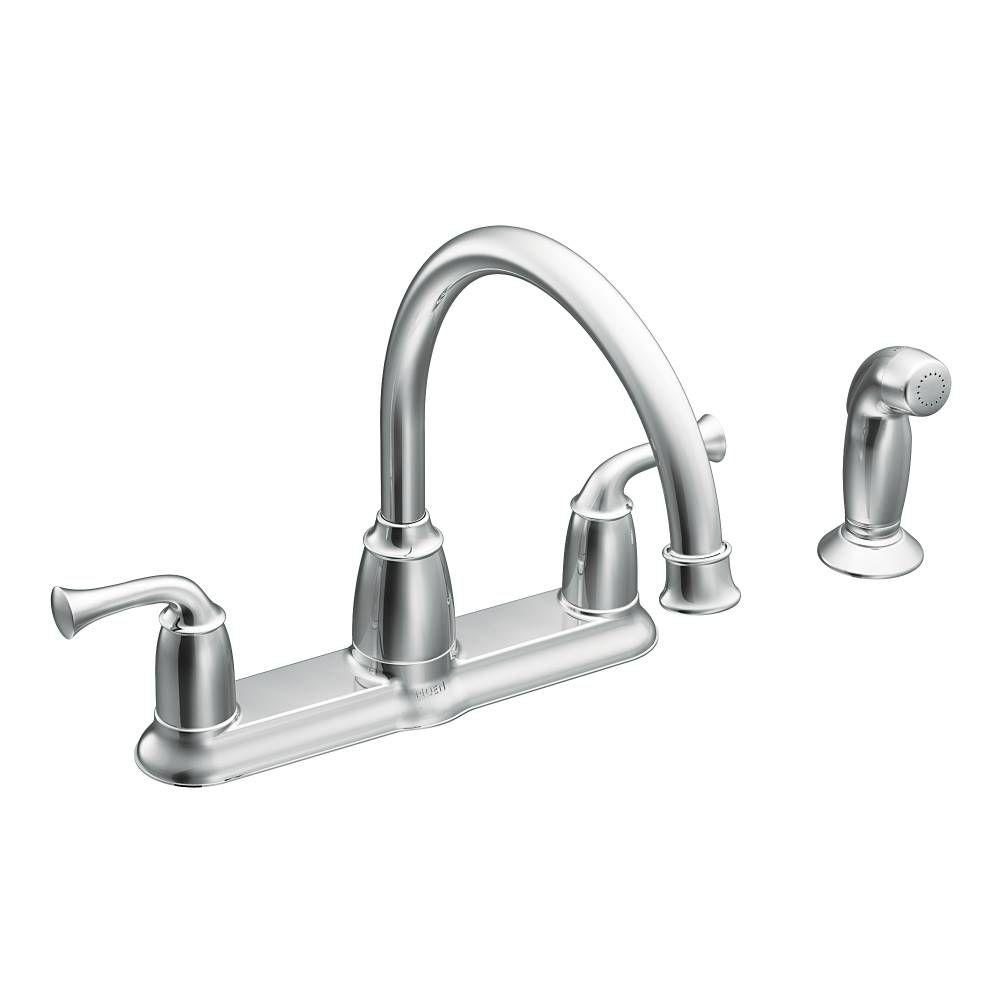 two handle kitchen faucet monogram towels moen banbury 2 mid arc standard with side sprayer in chrome
