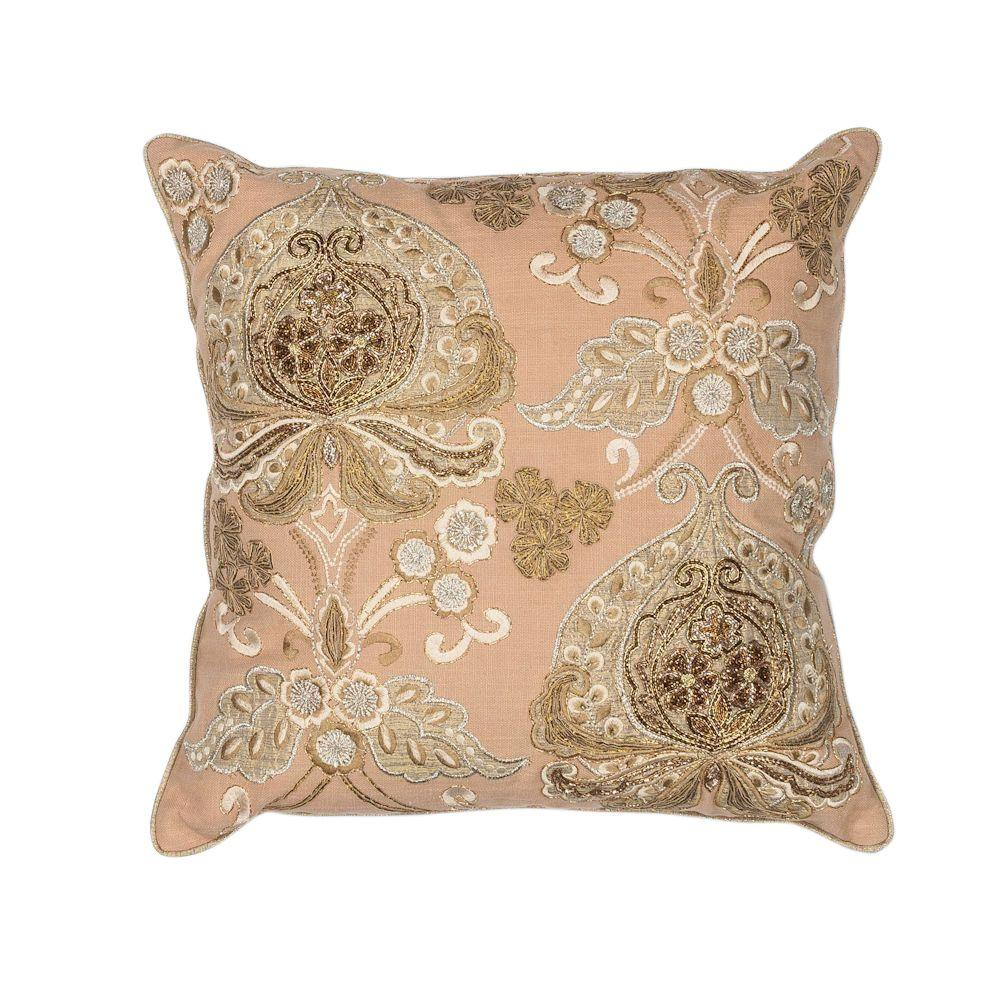 Kas Rugs Ribbons GoldSequins Decorative Pillow