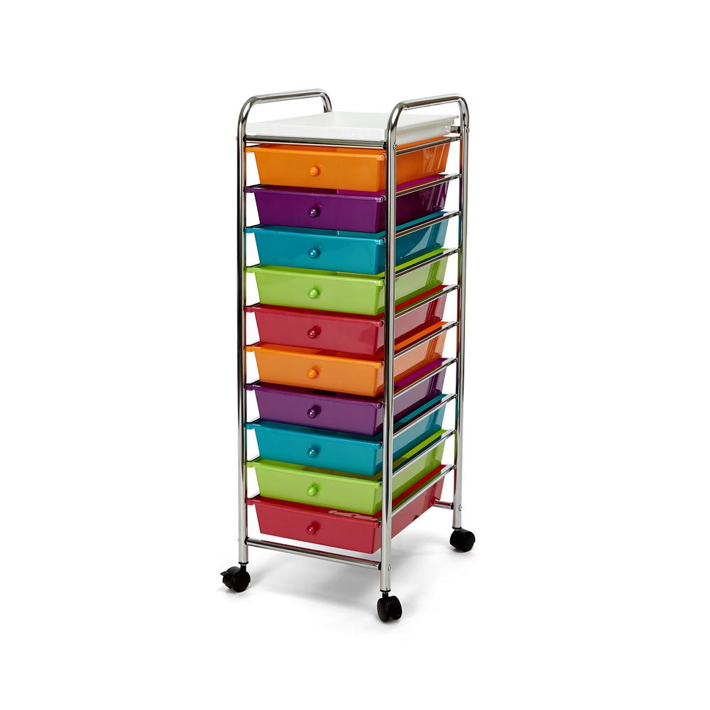 Seville Classics 10 Drawer Steel Organizer Wheeled Cart With Removable Top Tray In Pearlescent Multi Color Web241 The Home Depot