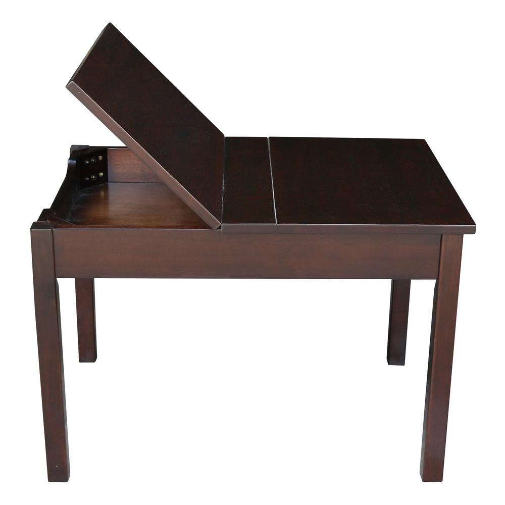 Kids Table Furniture with Lift Top Storage Brown Space