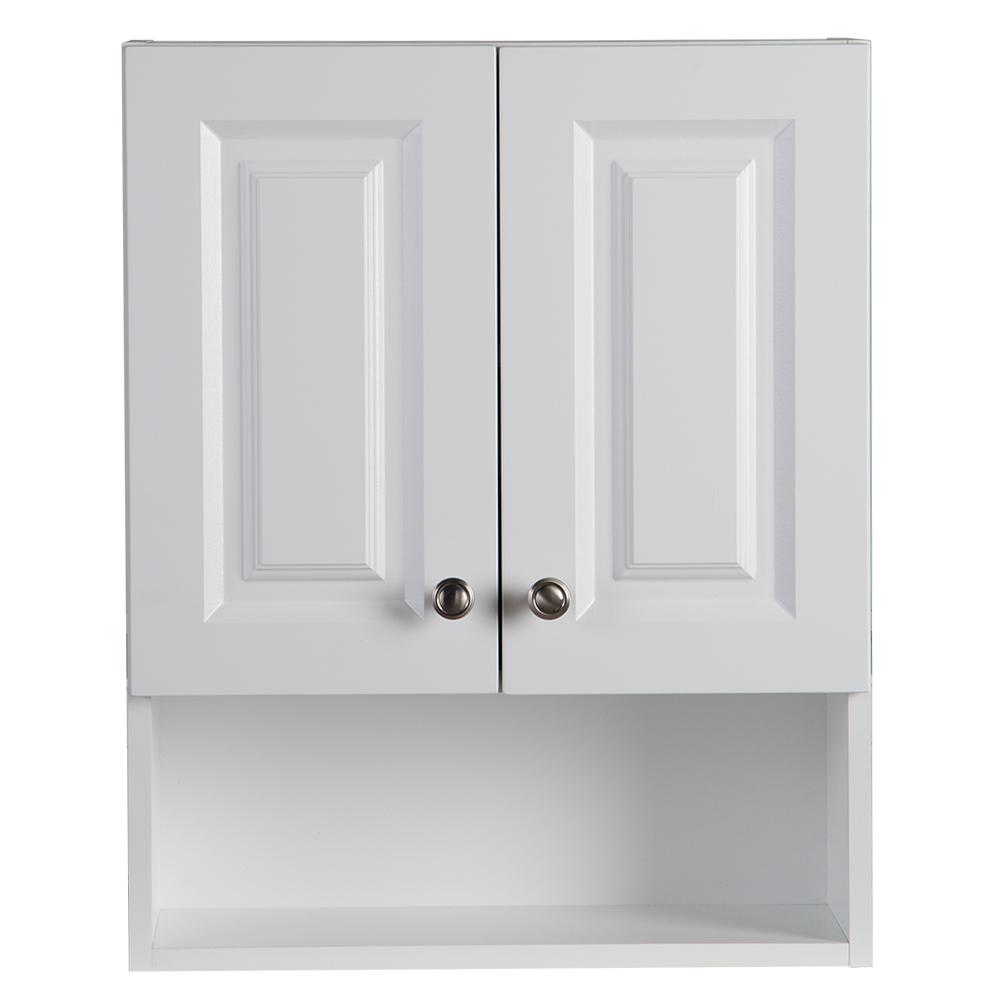 Wall Cabinets For Bathrooms Glacier Bay Lancaster 20 5 In W Wall Cabinet In White