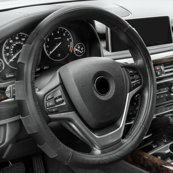 Fh Group Genuine Leather Sport Steering Wheel Cover-fh2005black - Home Depot