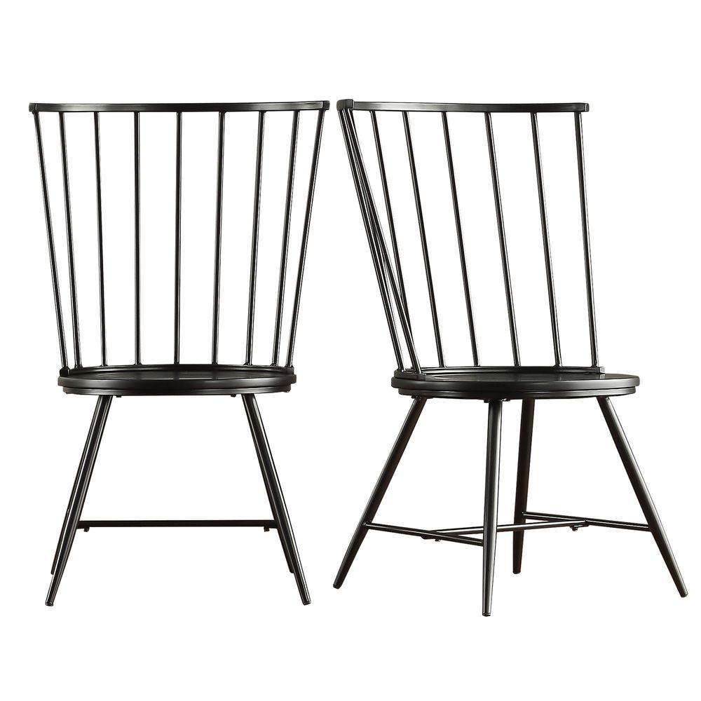 high back dining chair lazy boy big man recliner chairs homesullivan walker black wood and metal set of 2
