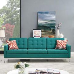 Teal Sofas Cheap Black Faux Leather Modway Loft Upholstered Fabric Sofa Eei 2052 Tea The Home Depot