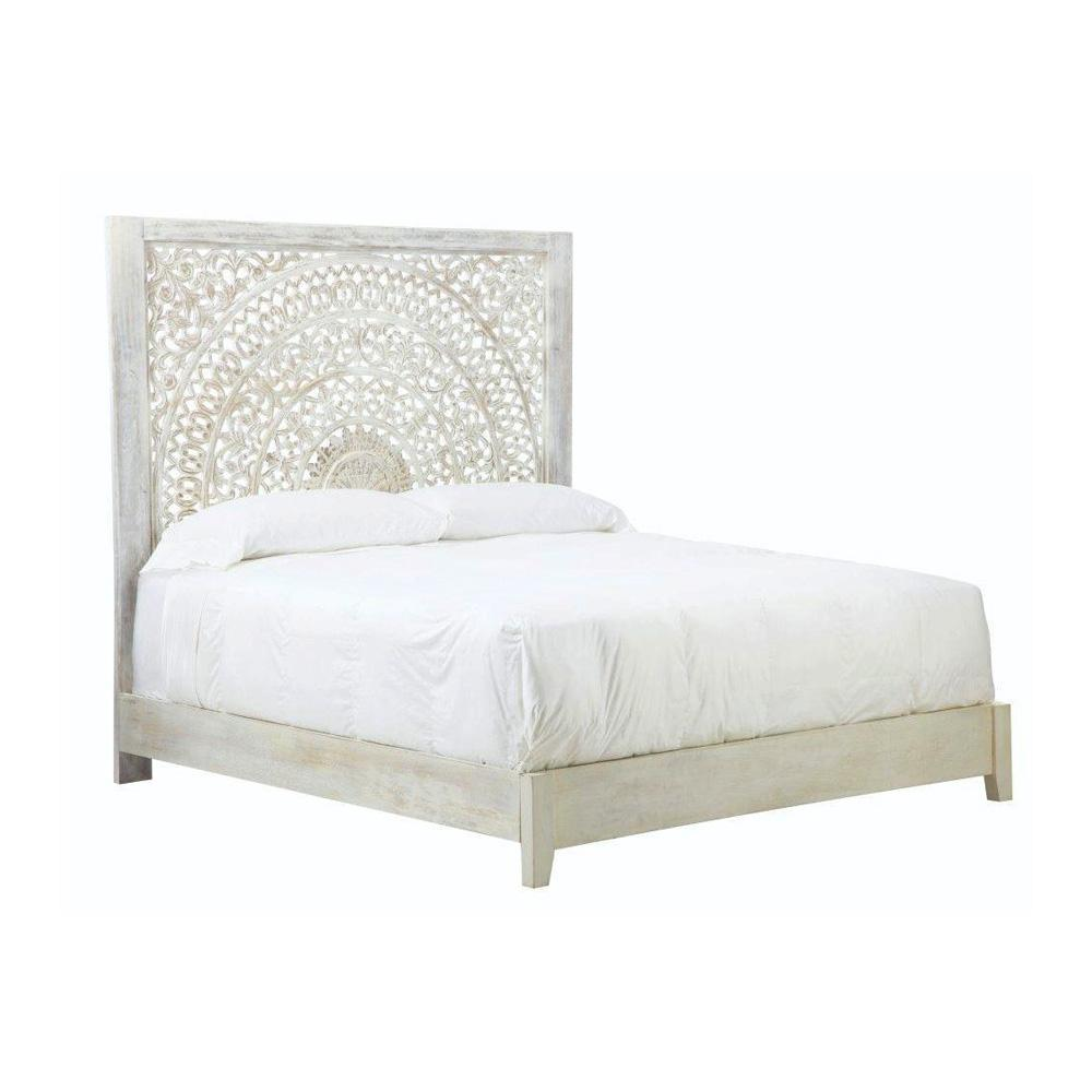 Bed Headboard Platform Solid Mango Wood White Home Bedroom Furniture Queen Size 887060239805  eBay
