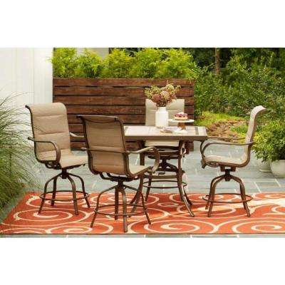 outdoor bar table and chairs goodform aluminum navy chair height patio dining sets furniture the home depot sun valley 5 piece set in sunbrella sling